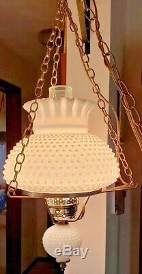 Vtg Fenton White Hobnail Milk Glass Hurricane Globe Hanging Lamp Electric 1950's