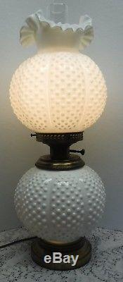Vtg Fenton White Milk Glass Hobnail GWTW Parlor Lamp Top & Bottom Light Up