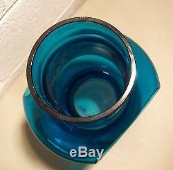 Vtg Mid Century Modern Blue Blenko Glass Vase Lamp Rare Handcrafted Art Glass