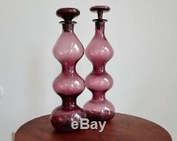 Vtg PAIR Blenko #5427 Amethyst Gurgle Decanters by Wayne Husted MCM Mid Century