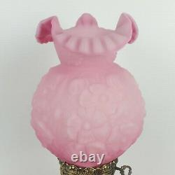 Vtg PINK Fenton GWTW Lamp Satin Pink Puffy Poppy Flowers Rose New Wire GORGEOUS