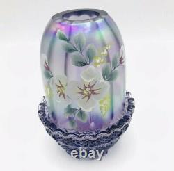 Vtg RARE Fenton 2Pc Purple Carnival Glass HandPainted Floral Flowers Fairy Lamp