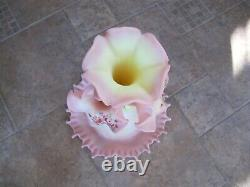 WOW RARE EC Fenton Art Glass Hand Painted Signed Burmese Beauty 4 Horn Epergne