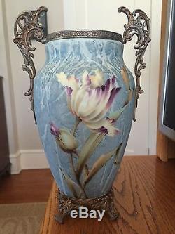 Wave crest'KELVA VASE13 X 6 Soft Blue Ground, with large tulip like florals