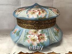 Wavecrest C. F. Monroe Painted Blue Kelva Powder Dresser Jewel Trinket Jar Box