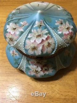 Wavecrest Mt. Washington Painted Blue Kelva Powder Dresser Jewel Trinket Jar Box