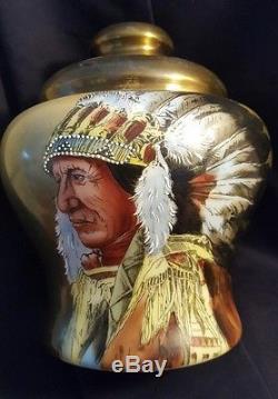Wavecrest Nakara CFM Victorian Glass Native American Indian Humidor Tobacco Jar